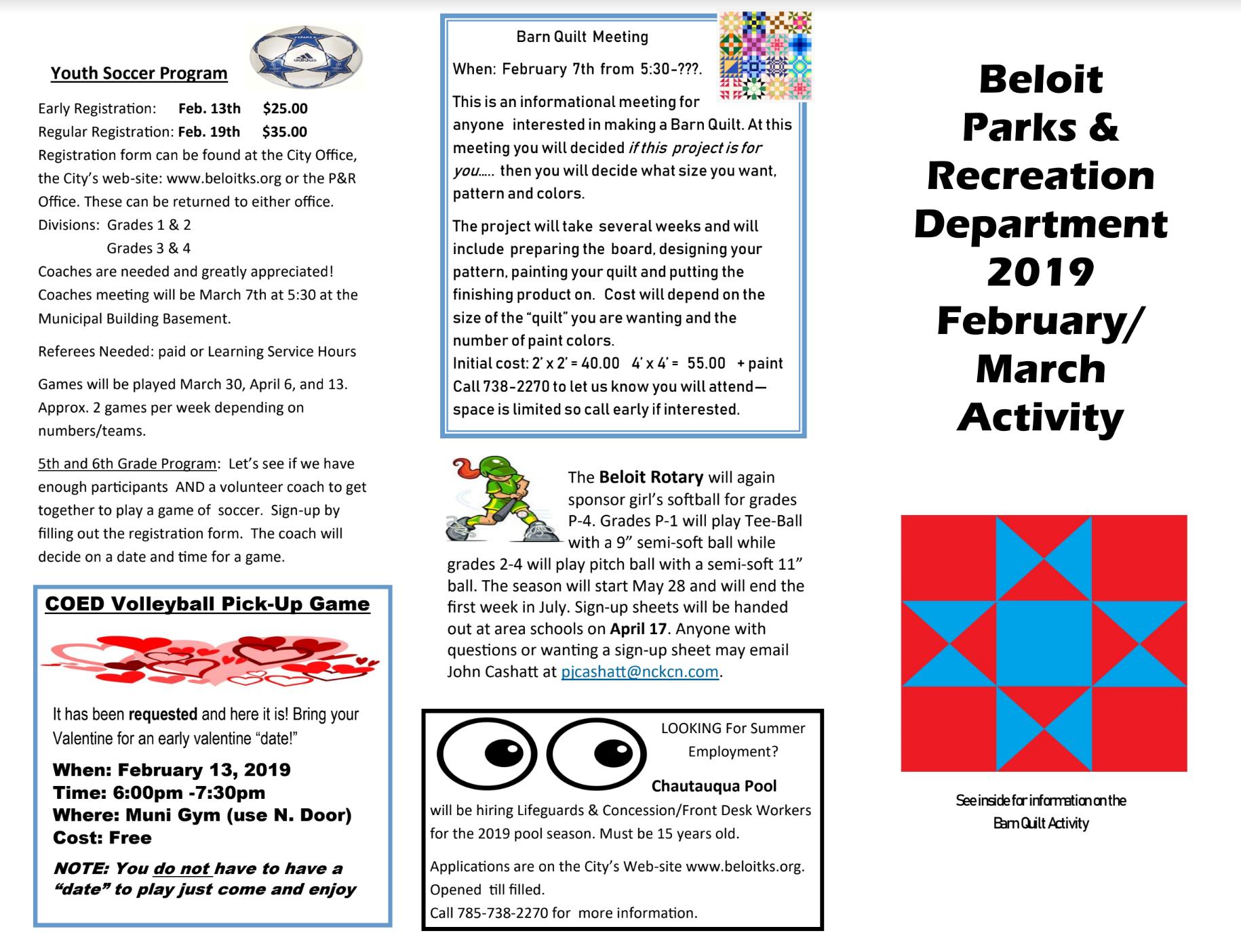 Beloit Feb /Mar  Parks & Rec Brochure